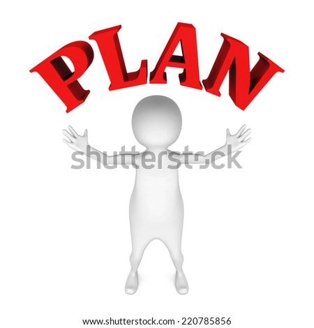 white 3d man with red PLAN word text. 3d render illustration - stock photo