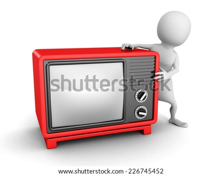 white 3d man with red retro TV. 3d render illustration - stock photo