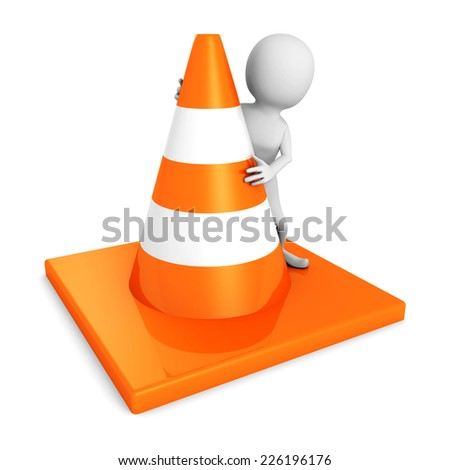 white 3d man with traffic road cones. 3d render illustration - stock photo