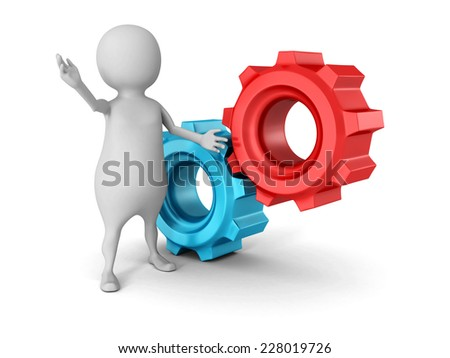 white 3d man with two red blue mechanical cogwheel gears. 3d render illustration
