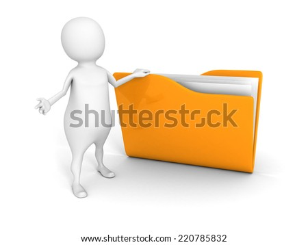 white 3d man with yellow document folder. 3d render illustration - stock photo