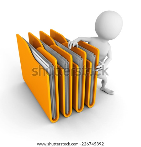white 3d man with yellow office folders. 3d render illustration - stock photo