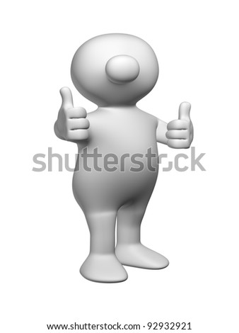 White 3D men sticking both thumbs in the air - stock photo