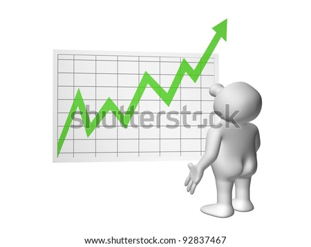 White 3D men with positive chart