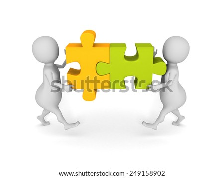 white 3d people team assemble two piece of a puzzle. teamwork concept 3d render illustration