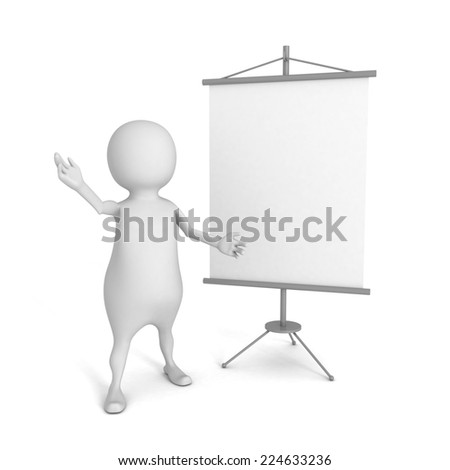 white 3d person with blank advertising billboard. 3d render illustration