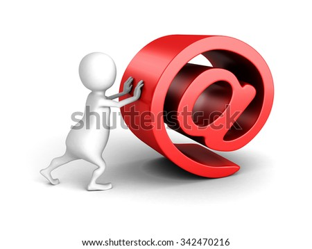 White 3d Person With Red AT E-mail Symbol. 3d Render Illustration