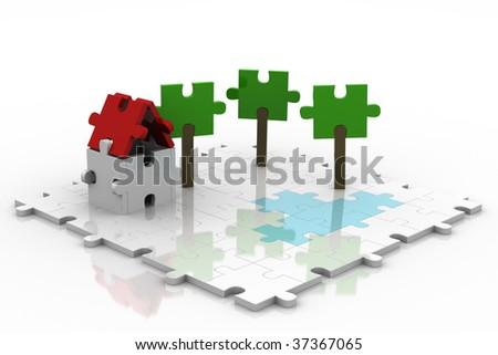 White 3D Puzzle Backyard - stock photo