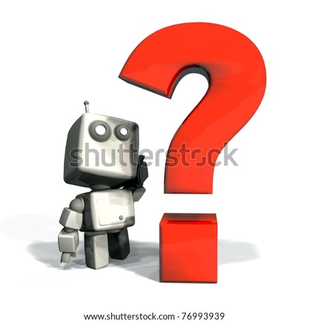 White 3D Robot with Red Question Point Isolated - stock photo