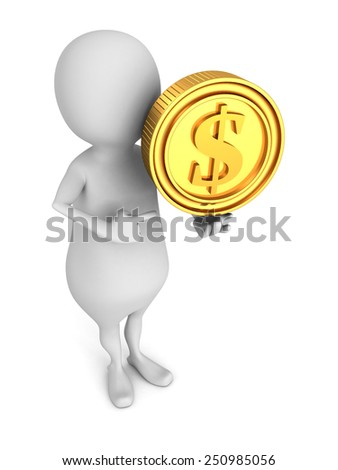 white 3d small person with golden dollar currency coin. finance success concept 3d render illustration - stock photo