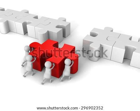 White 3d Team Push Last Jigsaw Puzzle Peace. 3d Render Illustration - stock photo