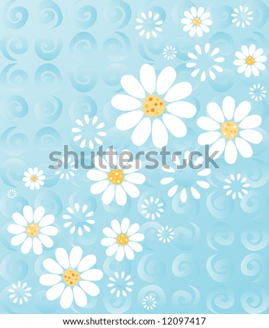 White daisies on a whimsical background of blue swirls - fresh summery floral - stock photo