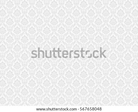 White Damask Wallpaper With Floral Patterns