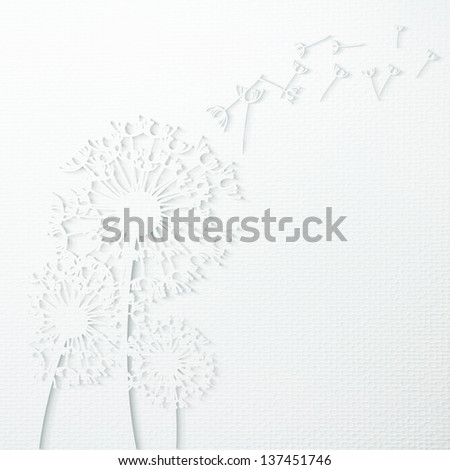 White Dandelion paper craft against a white paper texture background - stock photo