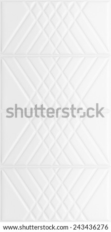 White decorative tile with leather texture and volume drawing strips, nobody.