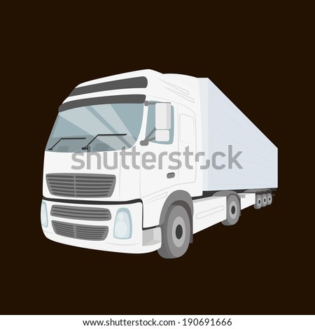 White delivery truck - isolated on the chocolate color background. Rasterized vector illustration