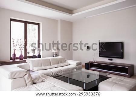 White designed living room in modern house - stock photo