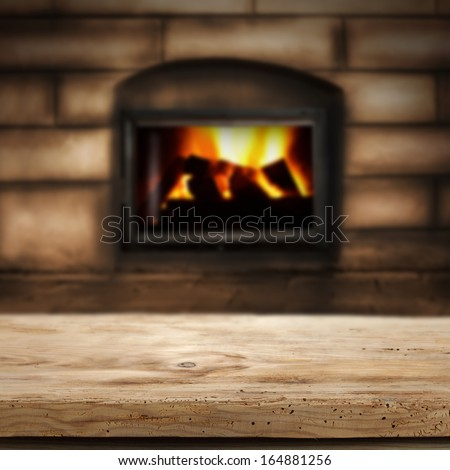 white desk and fireplace  - stock photo