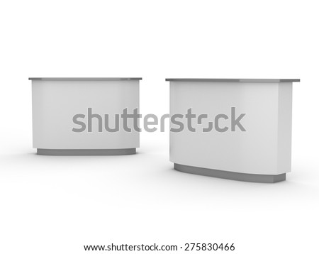 white desk or counter from front and side view. render - stock photo