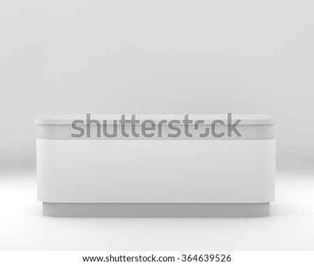 white desk or counter from frontview. render - stock photo