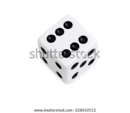 White dice isolated on white background - stock photo