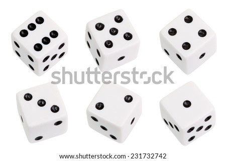 White dice isolated on white background