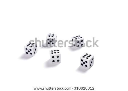 White dice on white background - stock photo