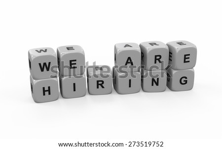 "White dice with ""We are hiring"" text. Isolated on white background - stock photo"