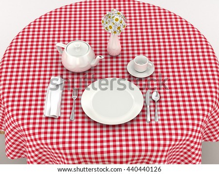 White dinnerware for serving breakfast on the red tablecloth. 3d illustration - stock photo