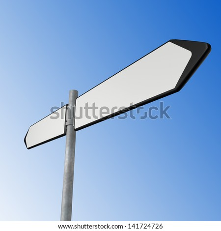 white directional sign on blue sky - stock photo