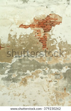 White dirty and decay brick wall  - stock photo