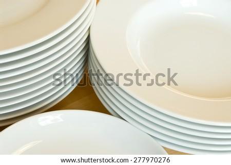 white dishes - stock photo