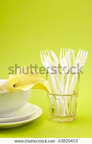 white dishware - stock photo