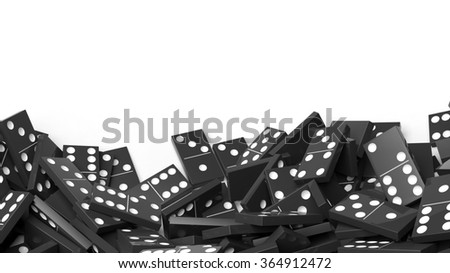 White domino tiles randomly piled, isolated on white with copy-space - stock photo