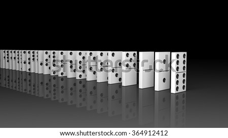 White domino tiles set in a row, isolated on black with reflection - stock photo