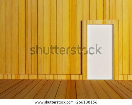 white door in the empty room, 3d rendering - stock photo