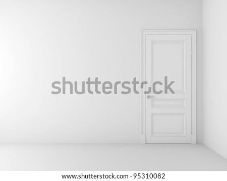 white door in white room - stock photo