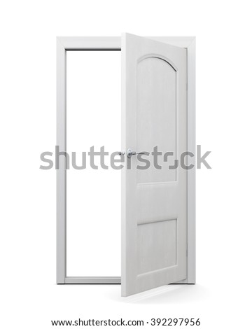 White door on an isolated background. 3d rendering. - stock photo