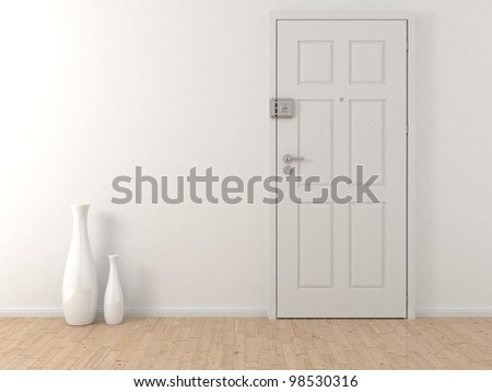 white door on the wall - stock photo
