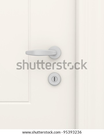White door with the handle and the lock close up. - stock photo
