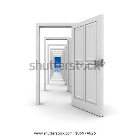 White doors on white background - stock photo