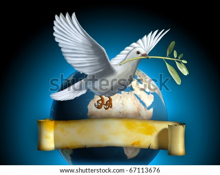 White dove carrying an olive branch as a peace symbol. The Earth and an old banner on background. Copyspace on banner to insert your own text. Digital illustration. - stock photo