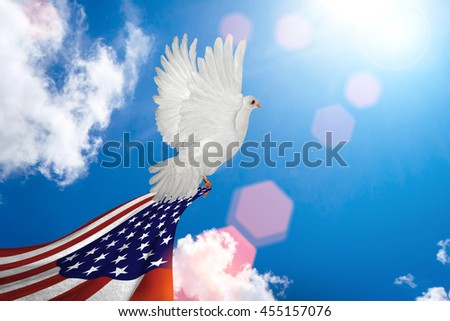White Dove holding USA flag Flying on blue sky to independence and freedom concept - stock photo