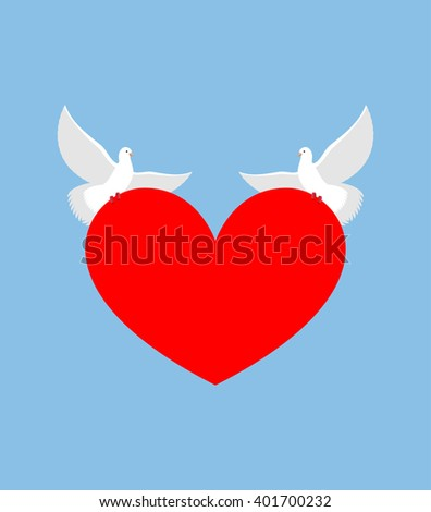 White Dove holds heart. Two white bird is symbol of purity. Red heart symbol of love. Two lovebirds bear love. Element for Valentines day. - stock photo