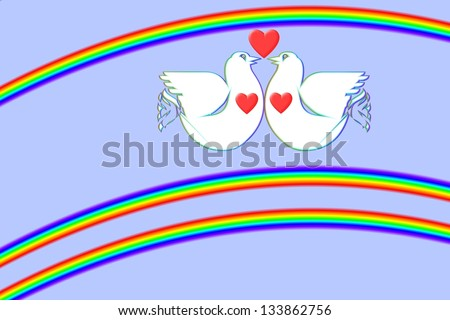 White doves in love in between two rainbows is an art work from my own hand. - stock photo