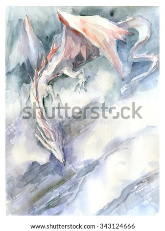 White dragon watercolor painting - stock photo