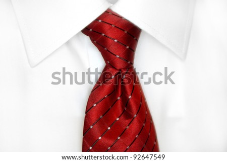 White dress shirt with red tie detailed closeup - stock photo