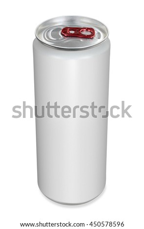 White drink beverage can with red opener - stock photo