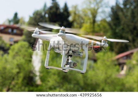 Rotating Drone On Background Mountains Drone Stock Photo ...