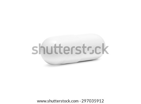 white drug capsule isolated on white background - stock photo